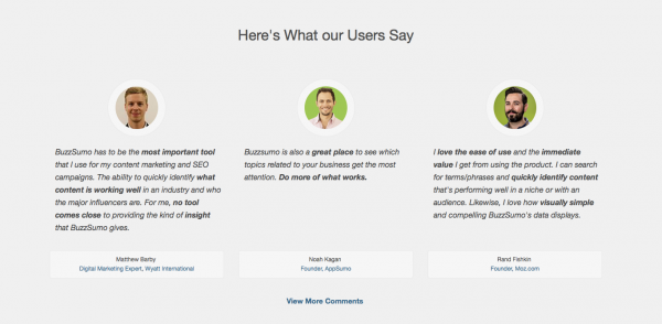 Get Backlinks with BuzzSumo Testimonials
