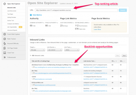 Moz Open Site Explorer Backlink Analyzer