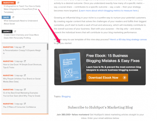 HubSpot CTA at bottom of blog post