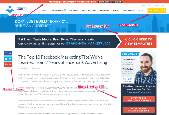 LeadPages Blog Design and CTA Example