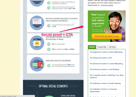 Quicksprout right sidebar social proof + CTA