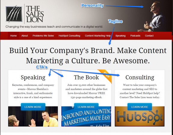 The Sales Lion Blog Design Home Page