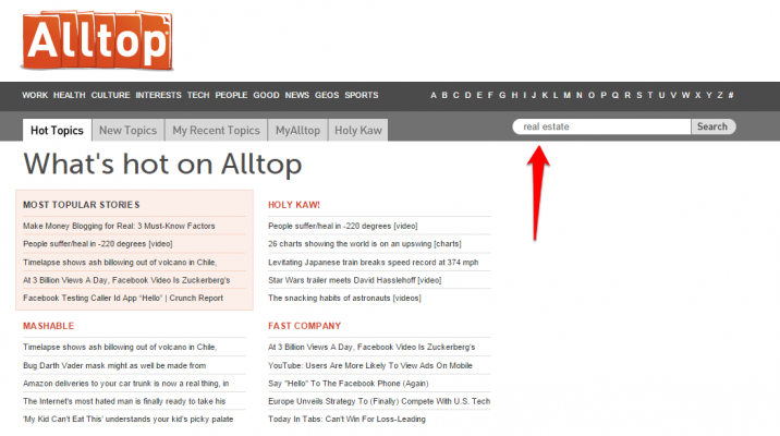 AllTop Search for Blogger Outreach