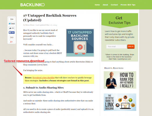 Backlinko email capture blog post