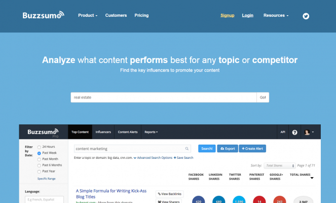 BuzzSumo main page for blogger outreach