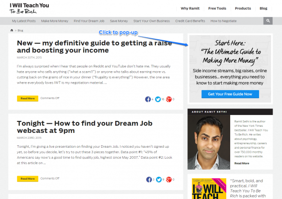 Ramit Sethi click to pop-up email capture