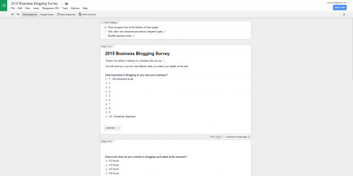 Google Forms Example for conducting buyer persona research