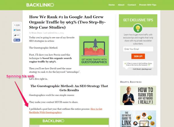 Backlinko internal links screenshot - seo strategy