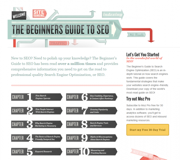 Beginner's guide to SEO Strategy - Moz Screenshot