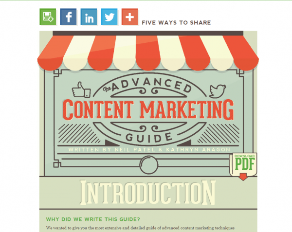 Quick Sprout Ultimate Guide to Content Marketing Screenshot