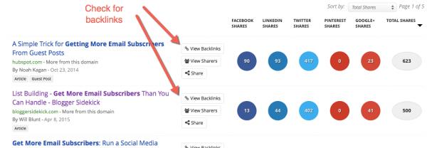 BuzzSumo check for backlinks image
