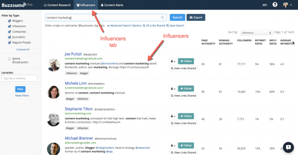Finding influencers to get more traffic to your blog - BuzzSumo