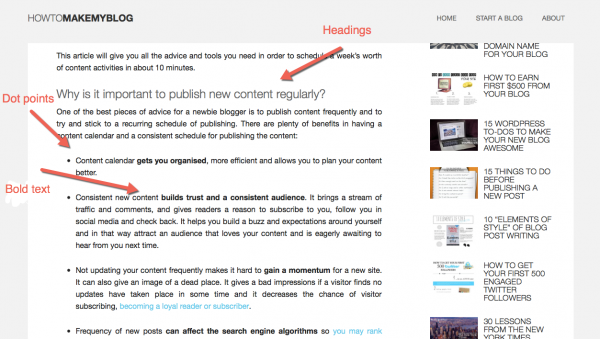Formatting example for how ton get more traffic to your blog