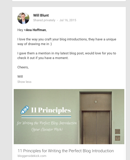 Google Plus example of reaching out