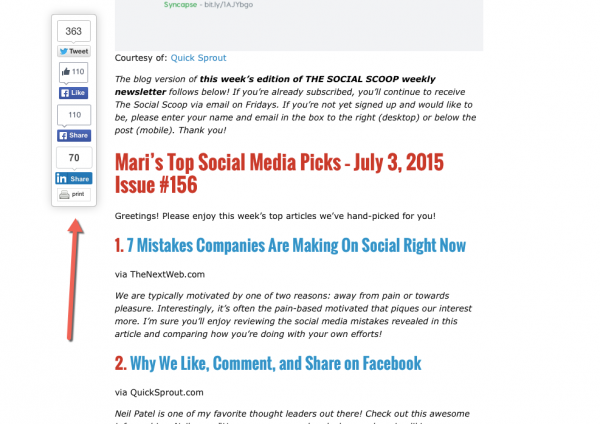 Mari Smith floating social media buttons to get more traffic to your blog