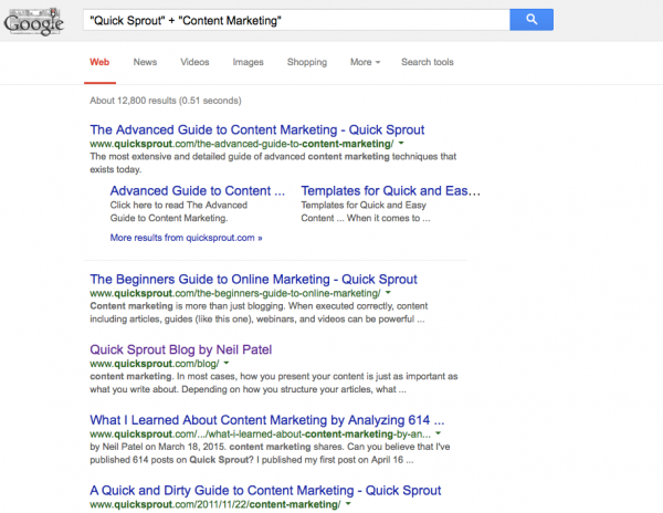 Quick Sprout Google search for Content Marketing