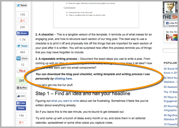 Above the fold opt-in - how to guest blog