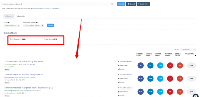 Backlinko links example in BuzzSumo