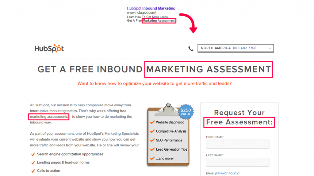 HubSpot example squeeze page
