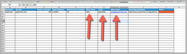 How to guest blog - editors details in spreadsheet