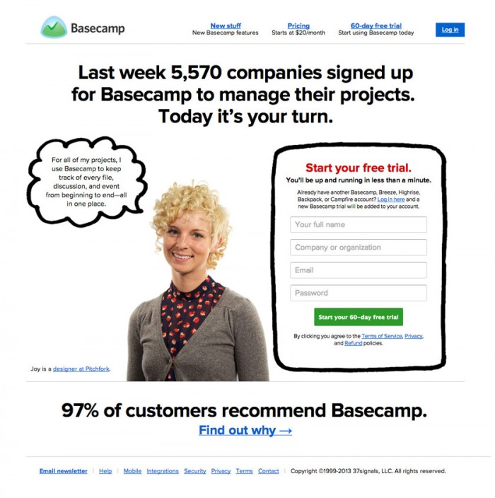 Basecamp social proof example for squeeze page