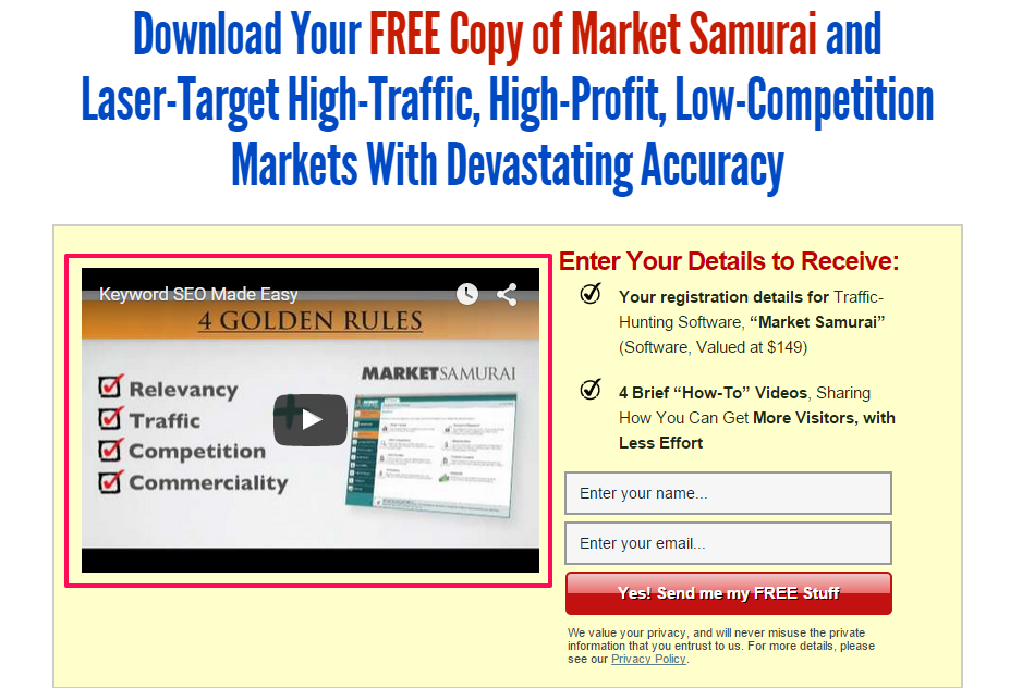 Market Samurai video on squeeze page example