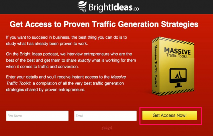 Brightideas squeeze page CTA example
