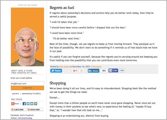 Seth Godin as example of writing in blog language