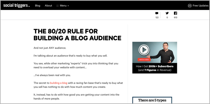Social triggers example of 80 20 rule for blog manager
