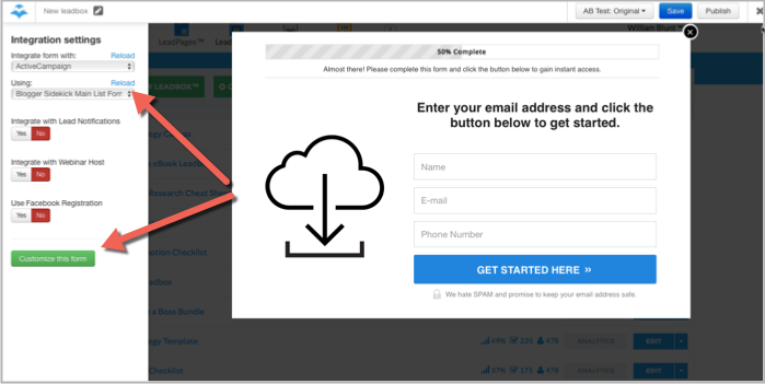 Email list integration within LeadBoxes