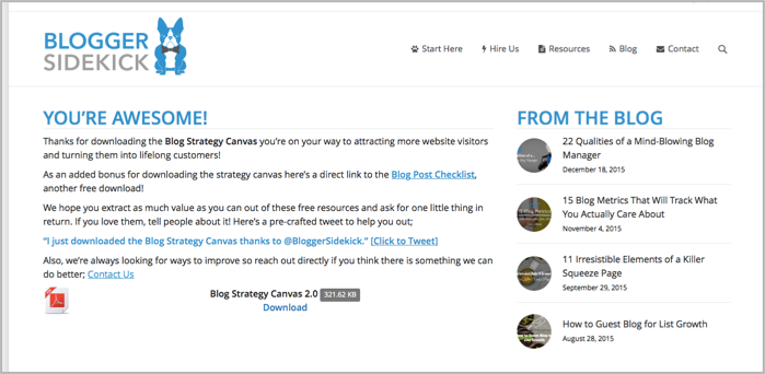 Example thank you page for leadpages