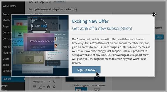 Popup WordPress plugin example