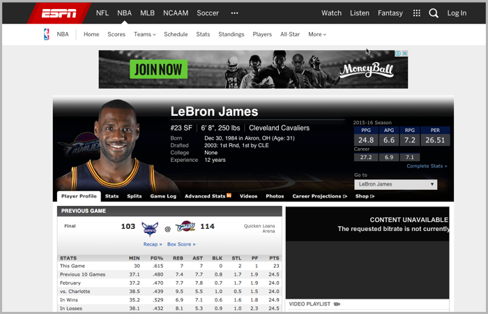 Lebron James content anchor ESPN