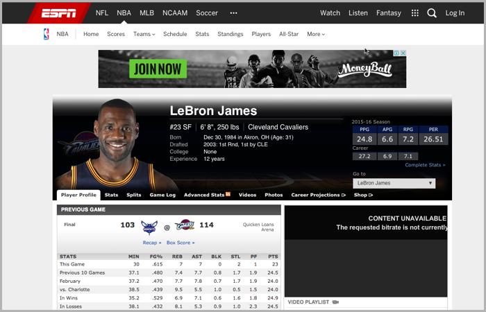 Lebron James content anchor ESPN