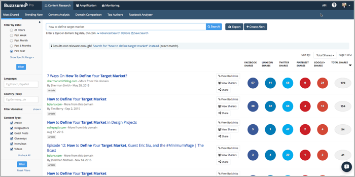 Buzzsumo - target customer research