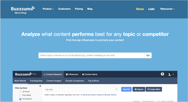 BuzzSumo for blog outsourcing promotion