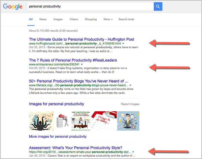 Personal productivity example 2 for how to get backlinks