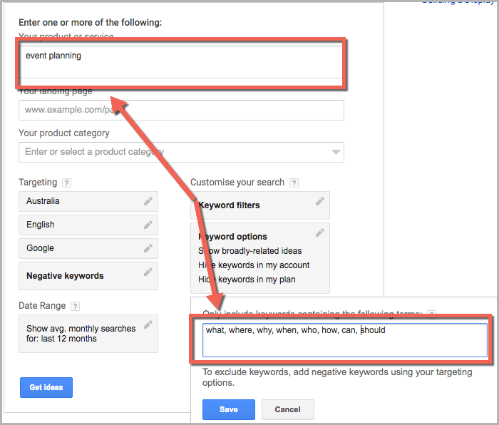 Adwords planner as a keyword research method