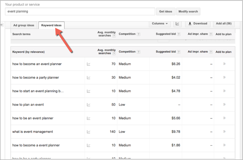 Event planning search in adwords planner