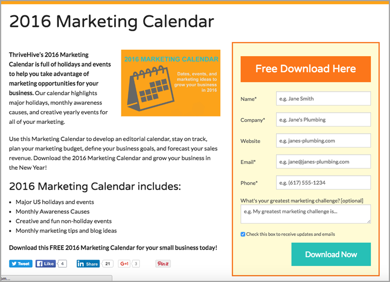 Free Calendar for lead magnet ideas