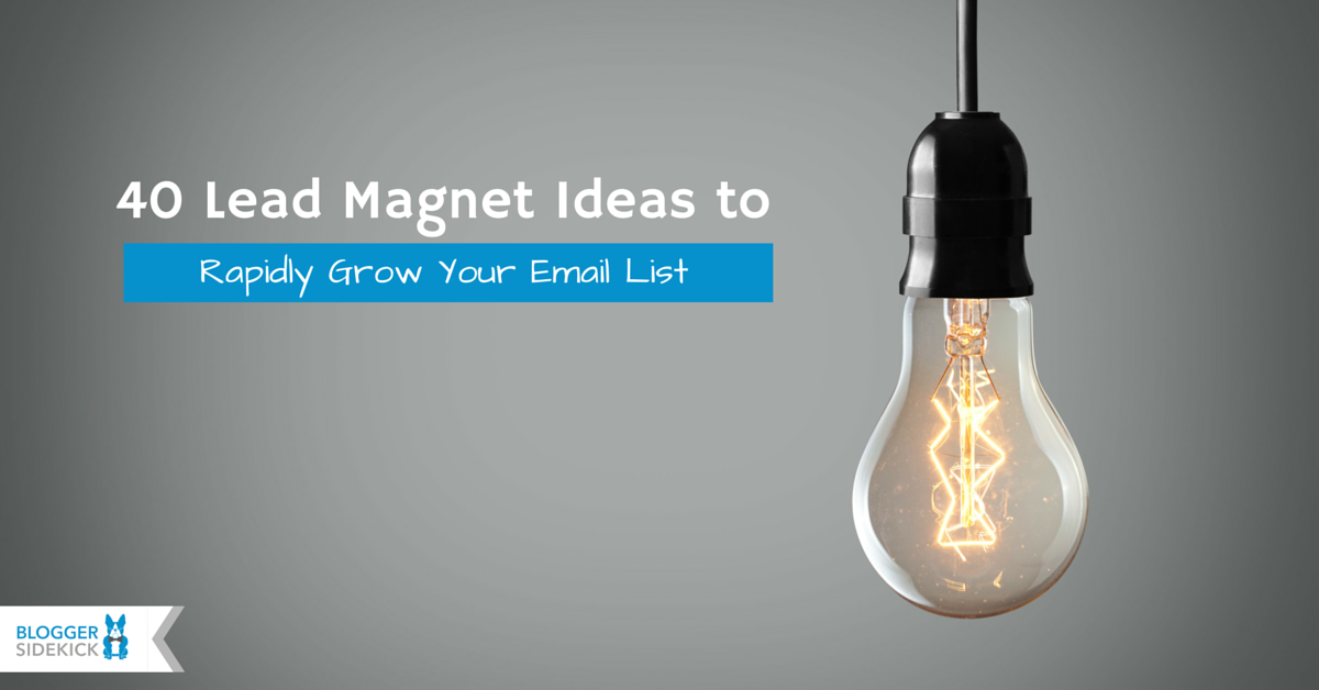 Blogger Sidekick 40 Lead Magnet Ideas To Rapidly Grow Your Email List