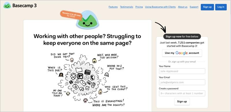 Basecamp image for managing blog contributors