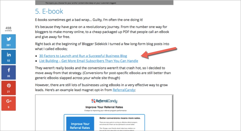 Crosslinking example for how to promote your blog