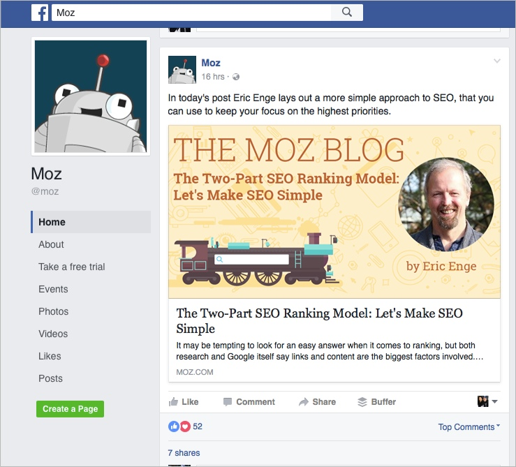 Moz FB post for how to promote your blog