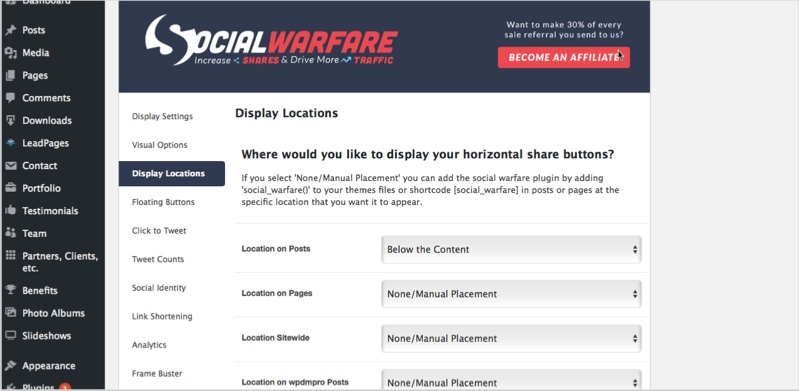 Social Warfare plugin for how to promote your blog content